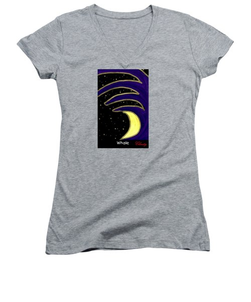 Women's V-Neck T-Shirt (Junior Cut) featuring the painting Whale by Clarity Artists