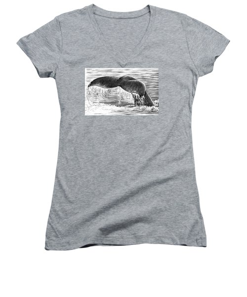 Women's V-Neck T-Shirt (Junior Cut) featuring the drawing Whale Tail by Heidi Kriel