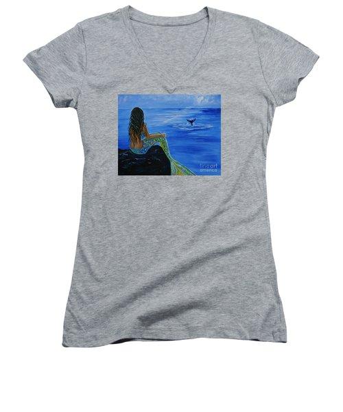 Whale Watcher Women's V-Neck T-Shirt (Junior Cut) by Leslie Allen