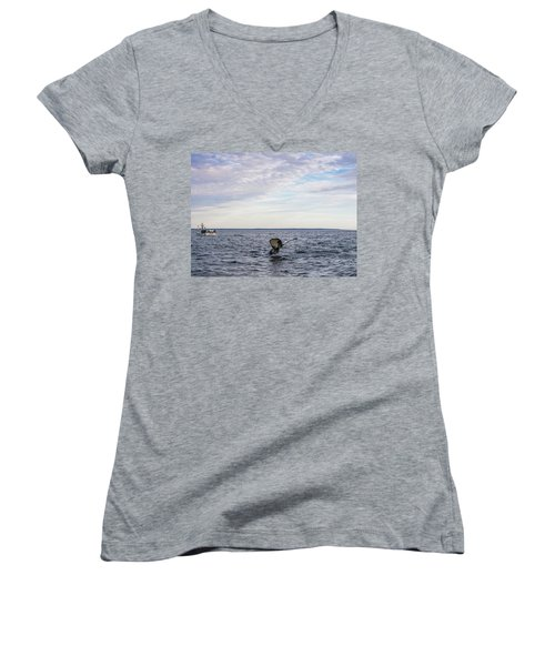 Whale Watching In Canada Women's V-Neck T-Shirt (Junior Cut) by Trace Kittrell