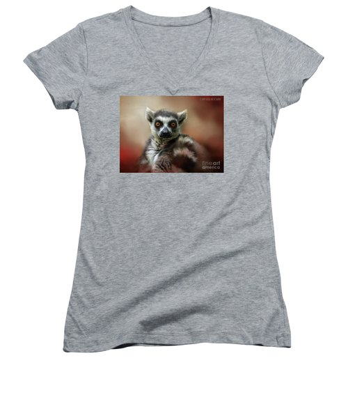 What Big Eyes You Have Women's V-Neck T-Shirt (Junior Cut) by Kathy Russell