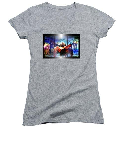 What  Horses Dream Women's V-Neck T-Shirt (Junior Cut) by Hartmut Jager