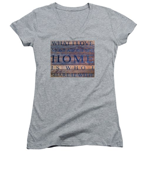 Women's V-Neck T-Shirt (Junior Cut) featuring the digital art What I Love Most About My Home by Chris Flees