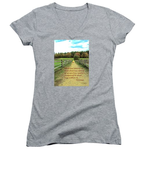 What Lies Ahead Women's V-Neck T-Shirt (Junior Cut) by Deborah Dendler