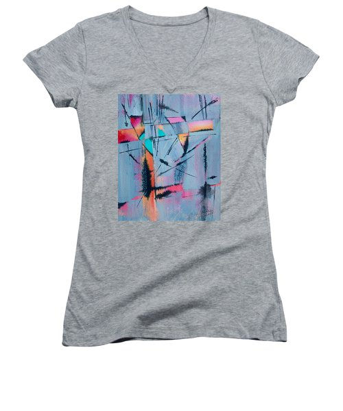 What Lies Beneath Women's V-Neck T-Shirt (Junior Cut) by Nancy Jolley