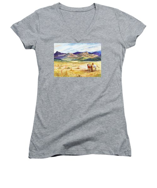 Women's V-Neck T-Shirt (Junior Cut) featuring the painting What Lies Beyond by Marilyn Smith