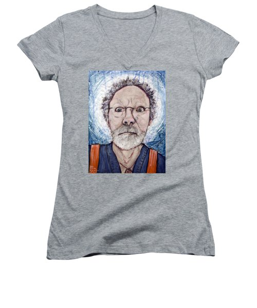 Women's V-Neck T-Shirt (Junior Cut) featuring the painting What by Ron Richard Baviello