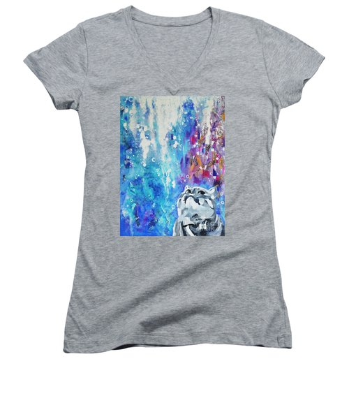 What's Up? Women's V-Neck T-Shirt (Junior Cut) by Betty M M Wong