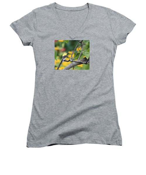 Women's V-Neck T-Shirt (Junior Cut) featuring the photograph What's Up by Debra     Vatalaro