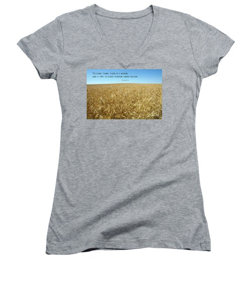 Wheat Field Harvest Season Women's V-Neck T-Shirt