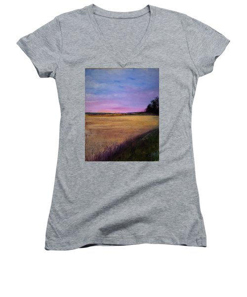 Wheat Field Women's V-Neck (Athletic Fit)