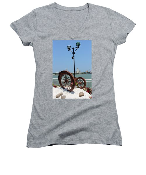 Wheels By The Water Women's V-Neck (Athletic Fit)