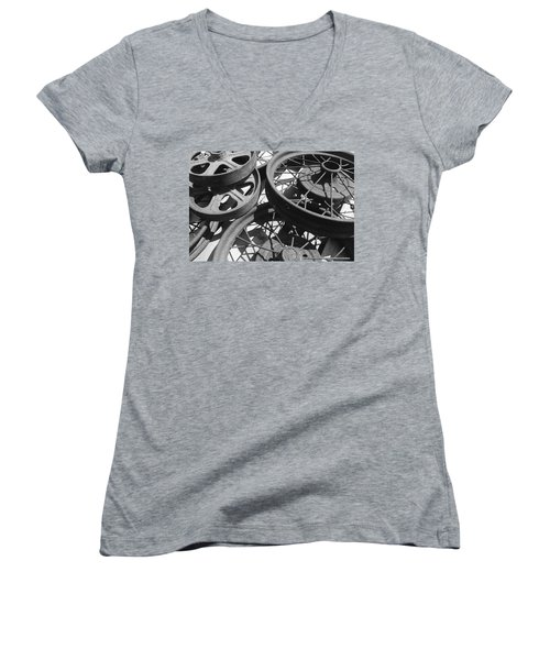 Wheels Of Time Women's V-Neck T-Shirt (Junior Cut) by Tim Good