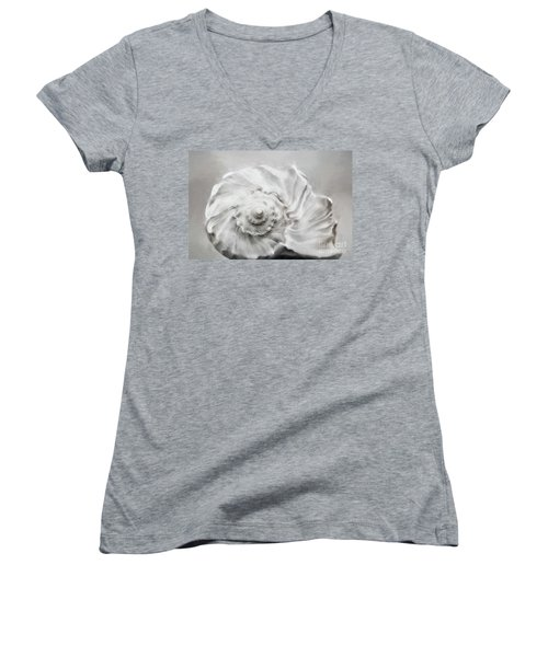 Women's V-Neck T-Shirt (Junior Cut) featuring the photograph Whelk In Black And White by Benanne Stiens
