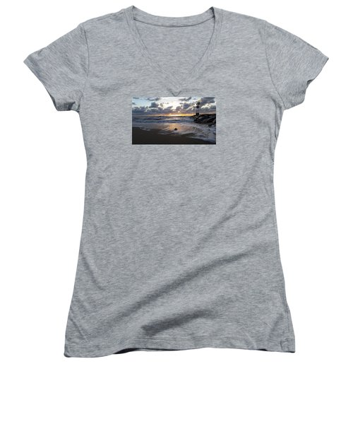 Women's V-Neck T-Shirt (Junior Cut) featuring the photograph Whelk Shell And Sunrise by Robert Banach