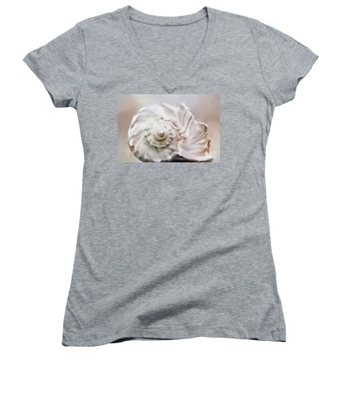 Women's V-Neck T-Shirt (Junior Cut) featuring the photograph Whelk Shell by Benanne Stiens
