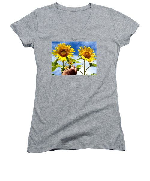 Women's V-Neck T-Shirt (Junior Cut) featuring the photograph when I grow up by Trena Mara