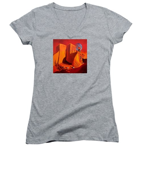 Women's V-Neck T-Shirt (Junior Cut) featuring the painting When Jupiter Aligns With Mars by Art West