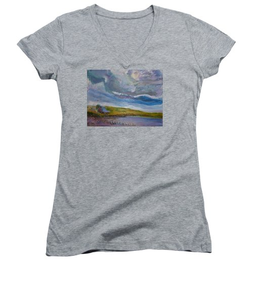 When Push Comes To Shove Women's V-Neck T-Shirt (Junior Cut) by Helen Campbell