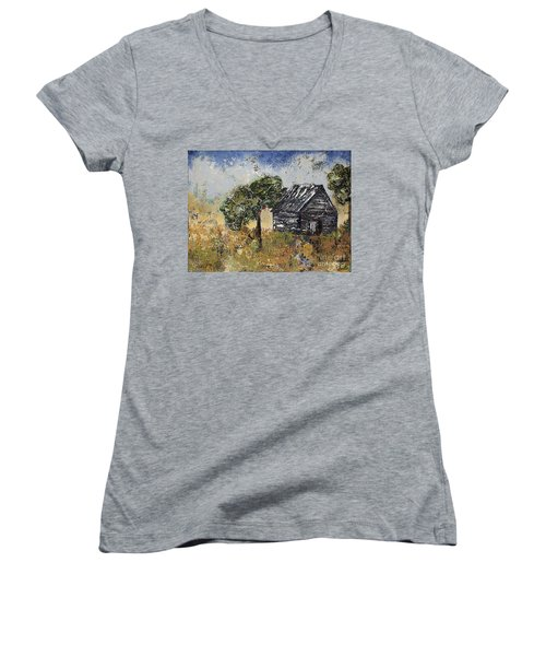 When September Ends Women's V-Neck T-Shirt (Junior Cut) by Kirsten Reed