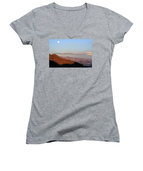 Women's V-Neck T-Shirt (Junior Cut) featuring the photograph When The Mountains Turn Pink... by Paula Guttilla