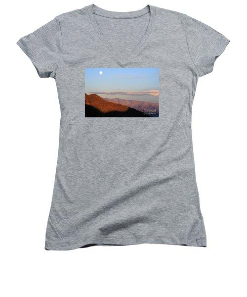 When The Mountains Turn Pink... Women's V-Neck T-Shirt (Junior Cut) by Paula Guttilla