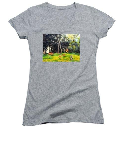 When World's Collide Women's V-Neck T-Shirt (Junior Cut) by Kevin F Heuman