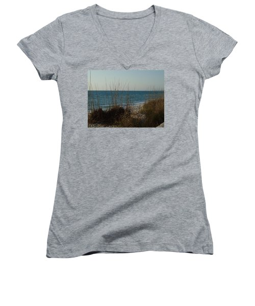 Women's V-Neck T-Shirt (Junior Cut) featuring the photograph Where Are You Elvis by Robert Margetts