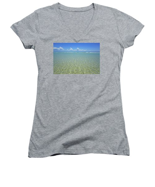Where Crystal Clear Ocean Waters Meet The Sky Women's V-Neck