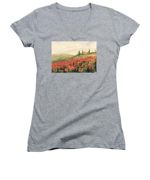Where Poppies Grow Women's V-Neck T-Shirt (Junior Cut) by Heidi Patricio-Nadon