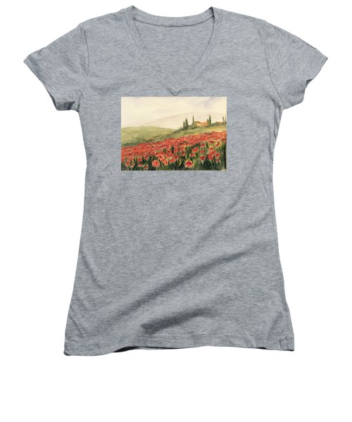 Where Poppies Grow Women's V-Neck (Athletic Fit)