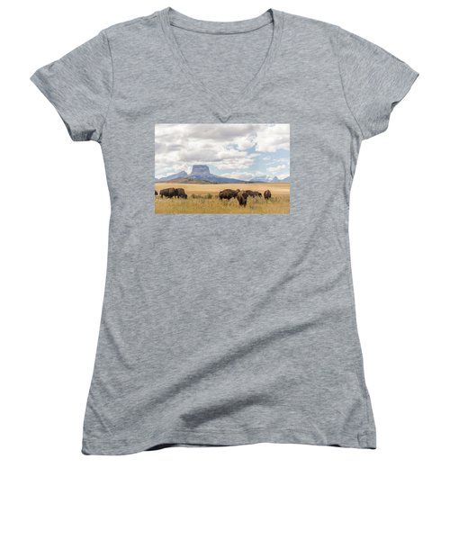 Where The Buffalo Roam Women's V-Neck T-Shirt