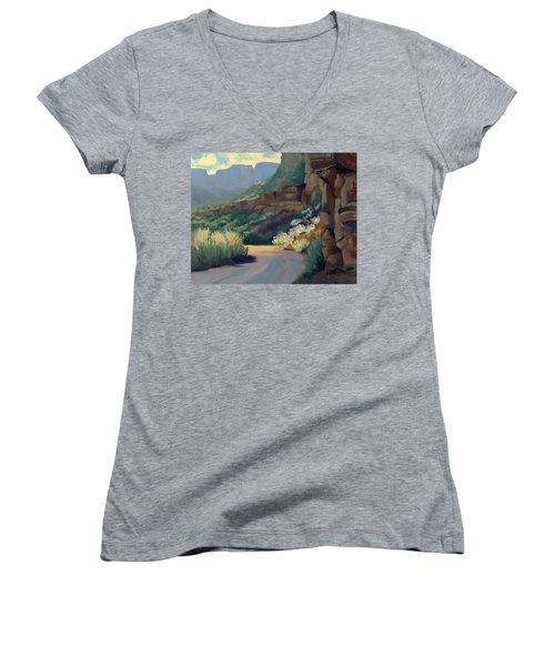 Where The Road Bends Women's V-Neck T-Shirt