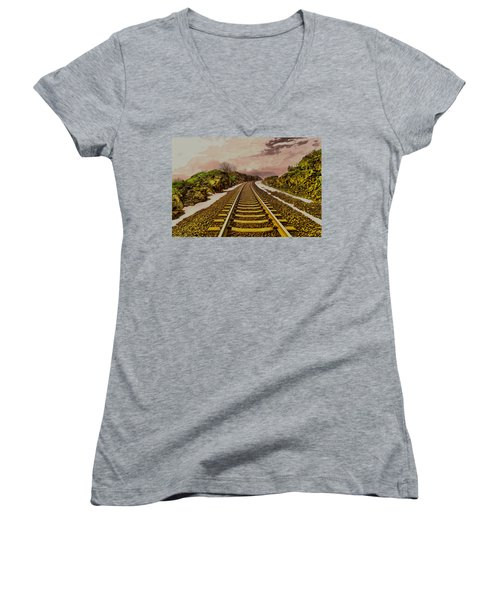Women's V-Neck T-Shirt (Junior Cut) featuring the photograph Where The Track Bends by Jeff Swan