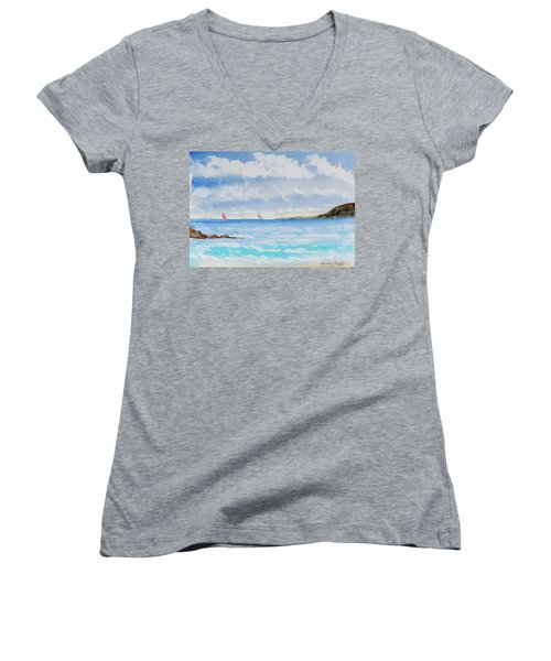 Women's V-Neck featuring the painting Where There's A Wind, There's A Race by Dorothy Darden