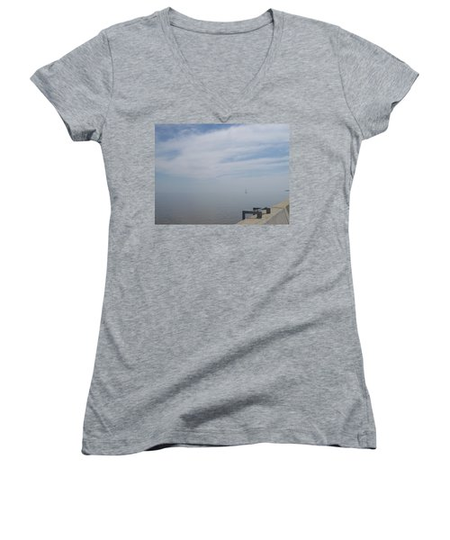 Women's V-Neck T-Shirt (Junior Cut) featuring the photograph Where Water Meets Sky by Mary Mikawoz