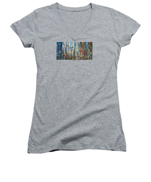 Where Wild Roses Bloom - Large Work Women's V-Neck (Athletic Fit)