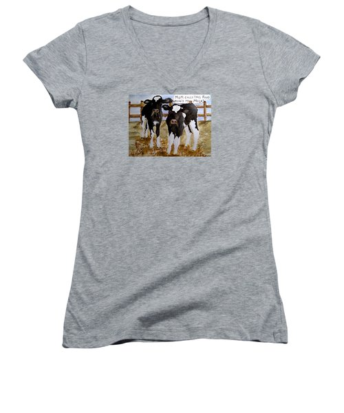 Women's V-Neck T-Shirt (Junior Cut) featuring the painting Where's My Milk? by Carol Grimes