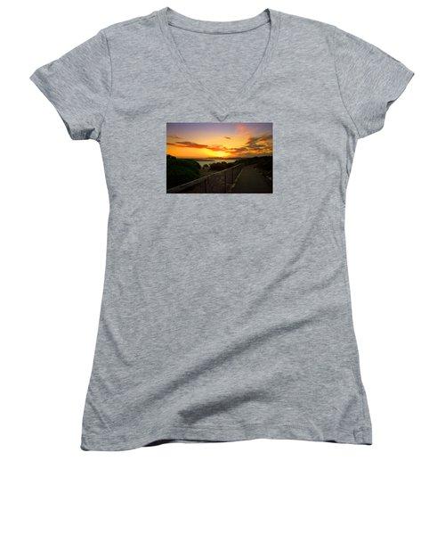 Women's V-Neck T-Shirt (Junior Cut) featuring the photograph While You Walk by Miroslava Jurcik