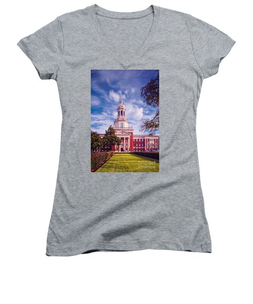 Whimsical Clouds Behind Pat Neff Hall - Baylor University - Waco Texas Women's V-Neck