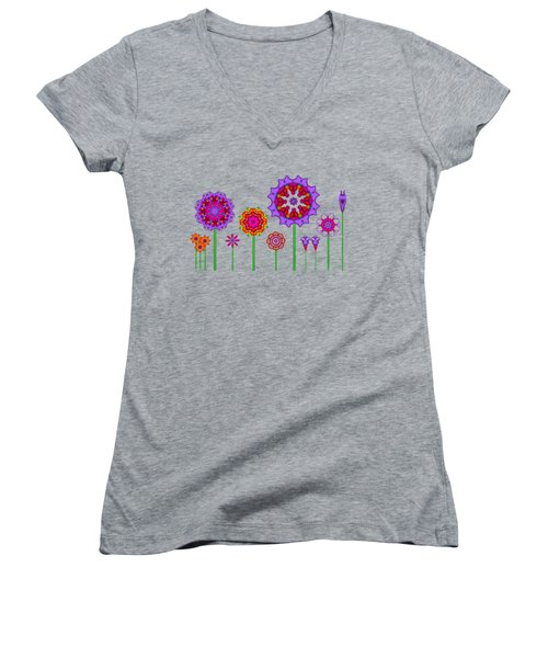 Whimsical Fractal Flower Garden Women's V-Neck