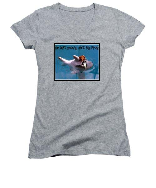 Whimsical Shark Women's V-Neck (Athletic Fit)