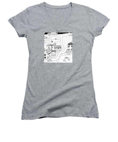 Women's V-Neck T-Shirt (Junior Cut) featuring the painting Whimsy Town by Lou Belcher