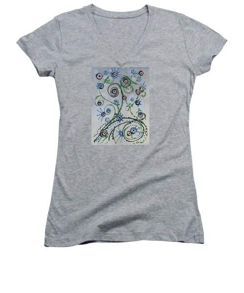 Women's V-Neck T-Shirt (Junior Cut) featuring the painting Whippersnapper's Whim by Holly Carmichael