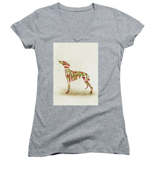 Women's V-Neck T-Shirt featuring the painting Whippet Watercolor Painting / Typographic Art by Inspirowl Design