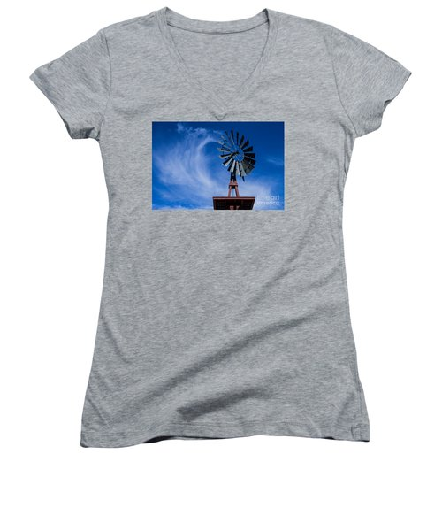 Whipping Up The Clouds Women's V-Neck T-Shirt (Junior Cut) by Steven Parker