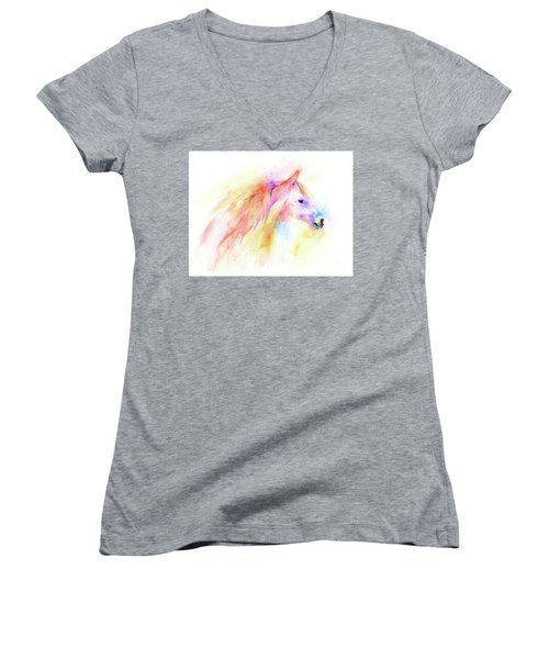 Women's V-Neck T-Shirt featuring the painting Whisper by Elizabeth Lock