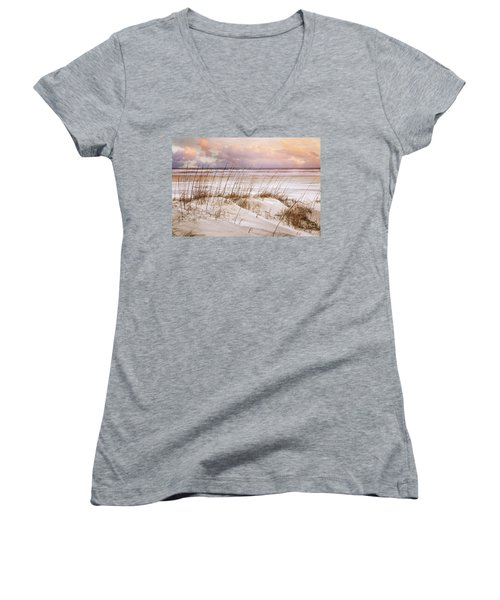 Women's V-Neck T-Shirt (Junior Cut) featuring the photograph Whispers In The Dunes by Debra and Dave Vanderlaan