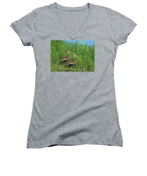 Whistling Ducks Women's V-Neck (Athletic Fit)