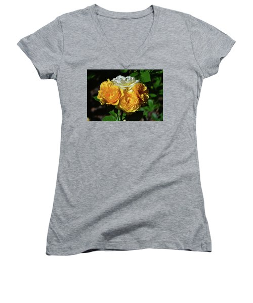 Women's V-Neck T-Shirt (Junior Cut) featuring the photograph White And Yellow Rose Bouquet 001 by George Bostian